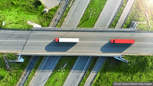 Aerial view of trucks in transit