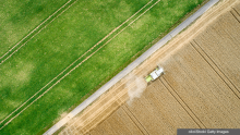 Aerial view of tractor harvesting wheat
